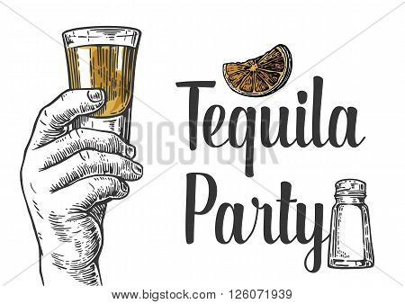 Male hand holding a shot of alcohol drink. Hand drawn design element.Vintage vector engraving illustration for label poster invitation to a party. Tequila party.