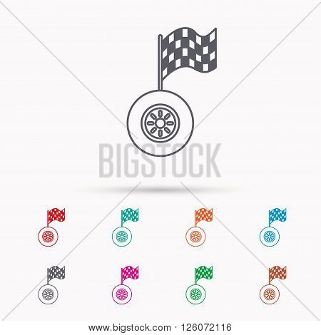 Race icon. Wheel with racing flag sign. Linear icons on white background.