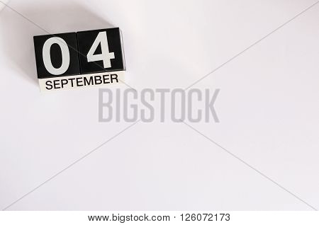 September 4th. Image of september 4 calendar on background. Empty space for text.