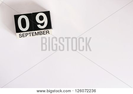 September 9th. Image of september 9 calendar on background. Autumn day. Empty space