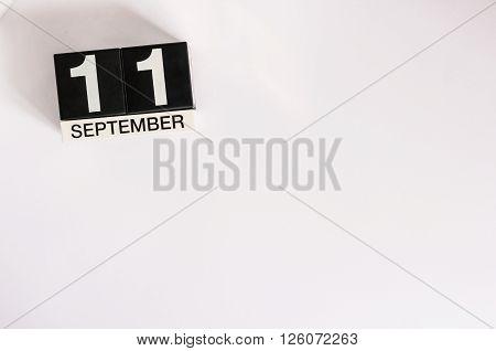 September 11th. Image of september 11 calendar on background. Empty space