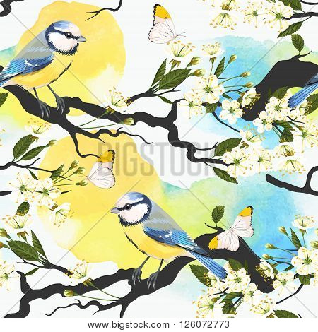 Tomtit on blooming cherry branch vector seamless background