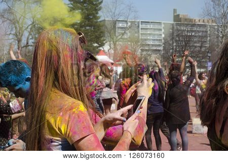 London Ontario, Canada - April 16:  Unidentified Young Colorful People Having Fun And Celebrating At