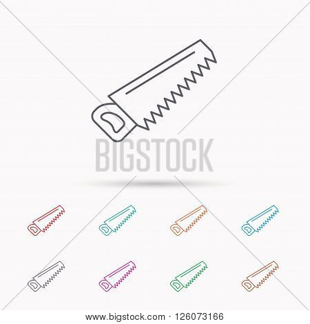 Saw icon. Carpentry equipment sign. Hacksaw symbol. Linear icons on white background.