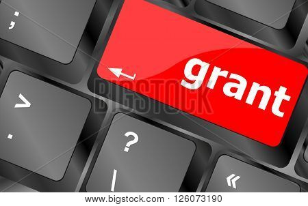 Computer keyboard button with grant button close up