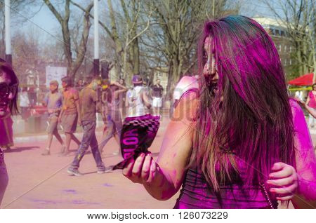 London Ontario, Canada - April 16:  Portrait Of Unidentified Young Colorful People Having Fun At The