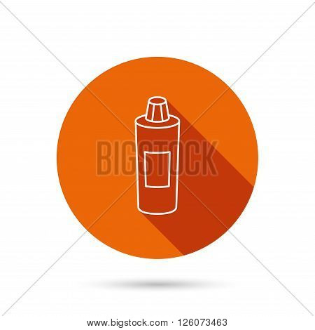 Shampoo bottle icon. Liquid soap sign. Round orange web button with shadow.