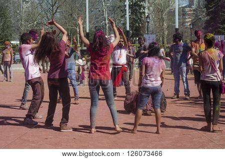 London Ontario, Canada - April 16:  Unidentified Young Colorful People Having Fun And Dancing At The