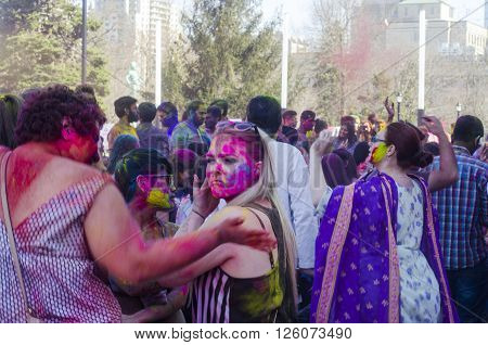 London Ontario, Canada - April 16:  Unidentified Young Colorful People Having Fun At The Festival Of