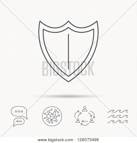 Shield icon. Protection sign. Royal defence symbol. Global connect network, ocean wave and chat dialog icons. Teamwork symbol.