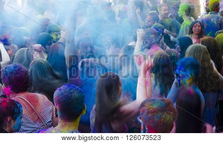 London Ontario, Canada - April 16:  Motion Effect For Unidentified Young Colorful People Having Fun