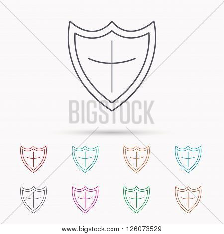 Shield icon. Protection sign. Royal defence symbol. Linear icons on white background.