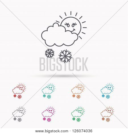 Snow with sun icon. Snowflakes with cloud sign. Snowy overcast symbol. Linear icons on white background.