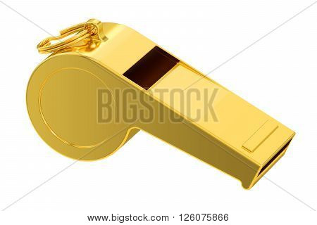 golden whistle 3D rendering isolated on white background