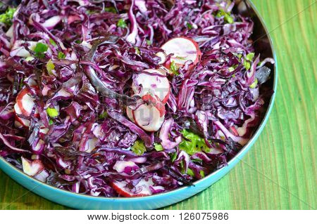 A bowl of salad with red or violet cabbage and radish