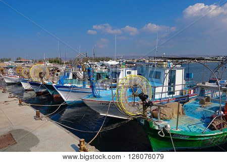 Paphos, Cyprus, December 13, 2015: Fisher boats in the port of Paphos, Cyprus.