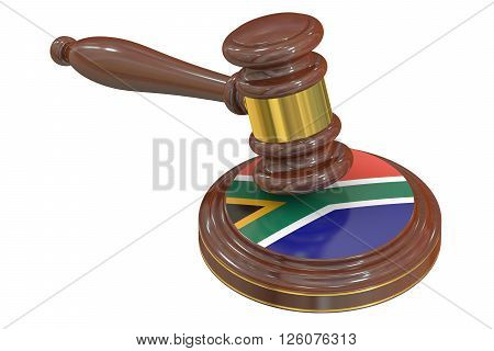 Wooden Gavel with Flag of South Africa 3D rendering