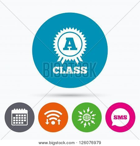Wifi, Sms and calendar icons. A-class award icon. Premium level symbol. Energy efficiency sign. Go to web globe.