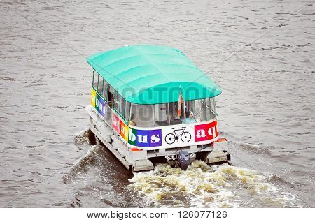 Vancouver Canada -  June 17 2011: Public water bus moves between downtown and Granville island.