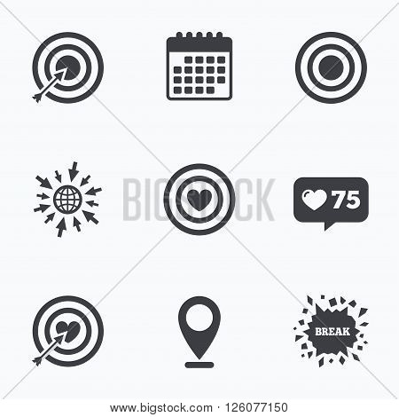 Calendar, like counter and go to web icons. Target aim icons. Darts board with heart and arrow signs symbols. Location pointer.