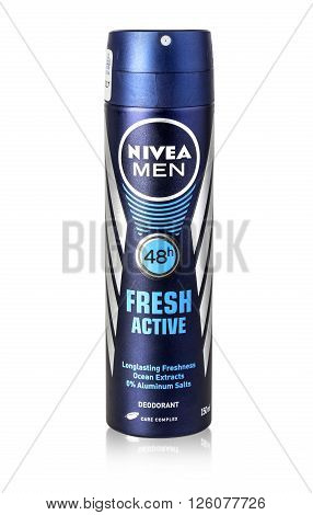 CHISINAU MOLDOVA - March 06 2016 :: Photo of Nivea men deodorant on a white background. Nivea is a spray skin and body care brand that is owned by the German company Beiersdorf