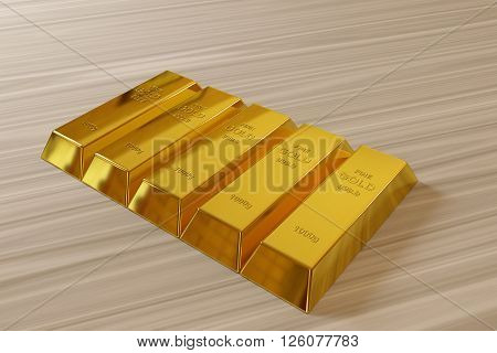 row of rendered gold bars on the desk, 3d rendering