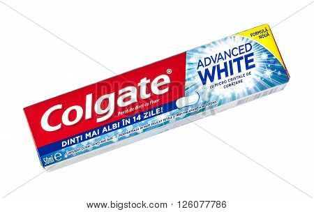 CHISINAU MOLDOVA - MARCH 25 2016.Colgate Toothpaste Advanced Sensation White isolated on white. Colgate is a brand of toothpaste produced by Colgate-Palmolive.