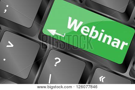 close up webinar button on computer keyboard key