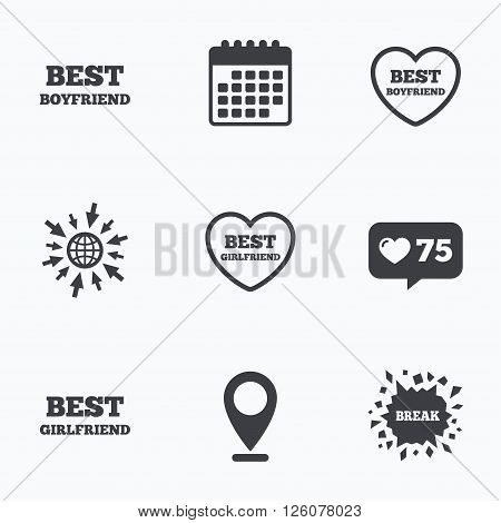 Calendar, like counter and go to web icons. Best boyfriend and girlfriend icons. Heart love signs. Award symbol. Location pointer.