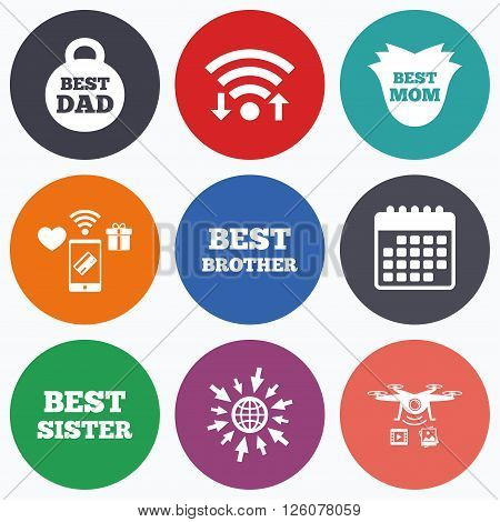 Wifi, mobile payments and drones icons. Best mom and dad, brother and sister icons. Weight and flower signs. Award symbols. Calendar symbol.