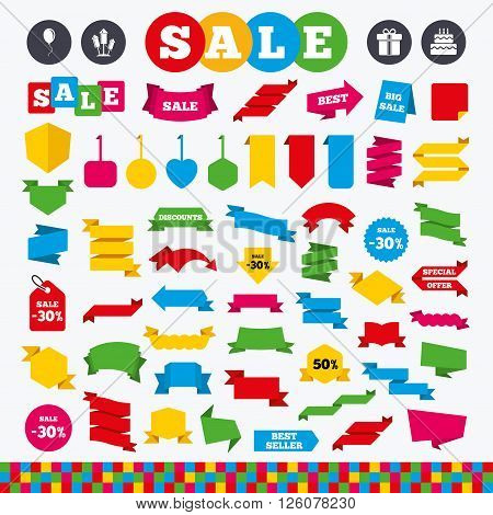 Banners, web stickers and labels. Birthday party icons. Cake and gift box signs. Air balloons and fireworks rockets symbol. Price tags set.
