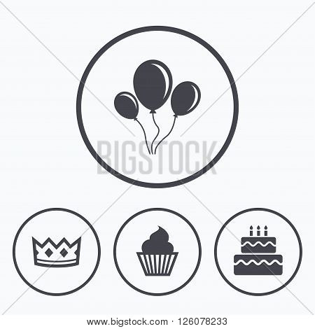 Birthday crown party icons. Cake and cupcake signs. Air balloons with rope symbol. Icons in circles.