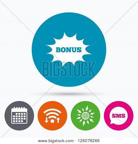 Wifi, Sms and calendar icons. Bonus sign icon. Special offer explosion cartoon bubble symbol. Go to web globe.