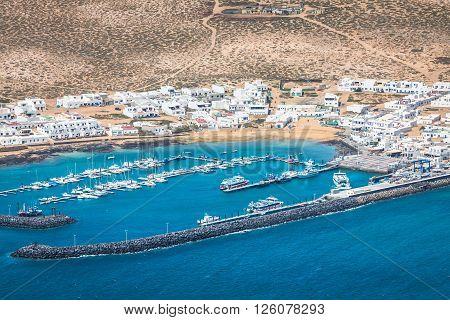 Caleta de SeboSpain -24 March 2015: Fishermen boats in Caleta de Sebo La Graciosa Canary Islands