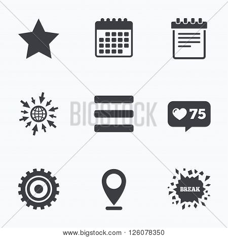Calendar, like counter and go to web icons. Star favorite and menu list icons. Notepad and cogwheel gear sign symbols. Location pointer.