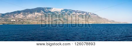 Panoramic view of Kefalonia Island from the sea Greece