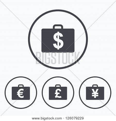 Businessman case icons. Cash money diplomat signs. Dollar, euro and pound symbols. Icons in circles.