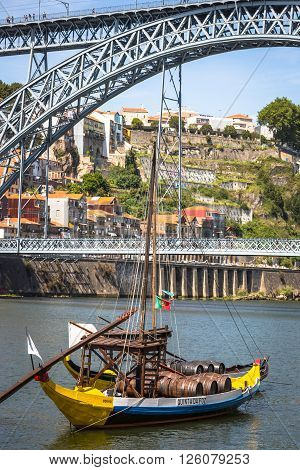 Porto Portugal -21 May 2015:Porto Portugal old town cityscape on the Douro River with traditional Rabelo boats.