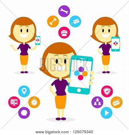 A Woman/Mom Showing/ Promoting many features of a Mobile App from Her Smartphone (in Flat Cartoon Style)