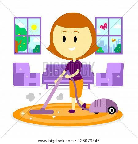 A Woman/ Mom  Cleaning Living Room of her House Using Vacuum Cleaner in the Springtime (in Flat Cartoon Style)