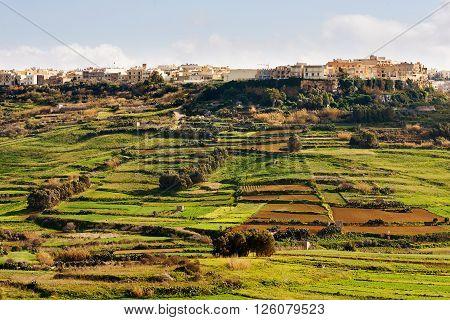 Panorama view on fields and village. Gozo island Malta.