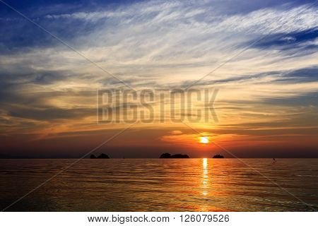Dramatic Sunset at Taling Ngam beach in Samui Thailand