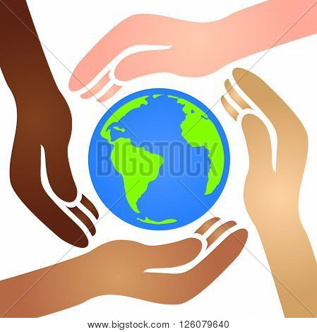 Diverse African American, White, Latino, and Asian Hands Joining Together to Cradle the Blue and Green World