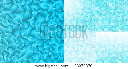 Set of five single Ice diamond geometric design. Abstract vector background. Eps 10 vector illustration. Used opacity mask of background. Template with digital crumpled shapes element