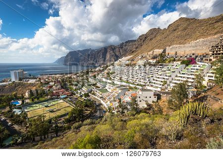 Los Gigantes Spain - 19 March 2015:The town and harbour seen from the cliffs