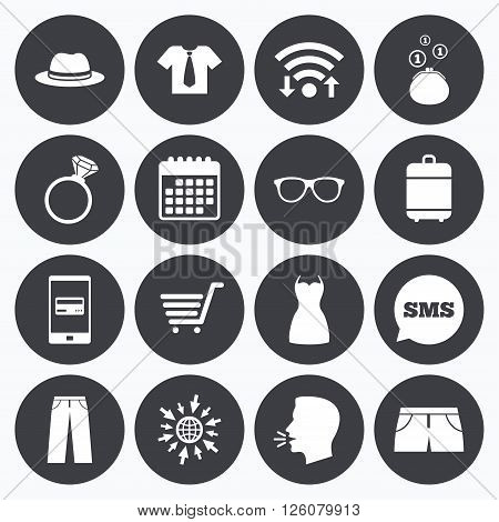 Wifi, calendar and mobile payments. Clothes, accessories icons. Shirt, glasses and hat signs. Wallet with cash coins symbols. Sms speech bubble, go to web symbols.
