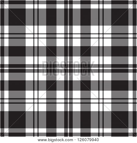 seamless illustration - black and white tartan with stripes