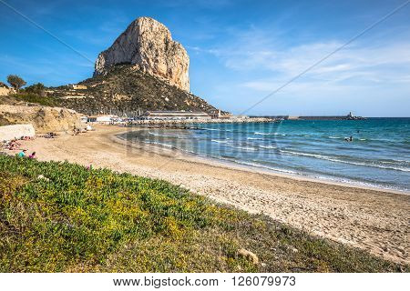 Calpe Spain-April 2,2015: Famous Mediterranean Resort Calpe in Spain