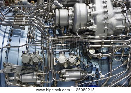 Jet engine, internal structure with hydraulic, fuel pipes and other hardware and equipment, aviation, aircraft and aerospace industry