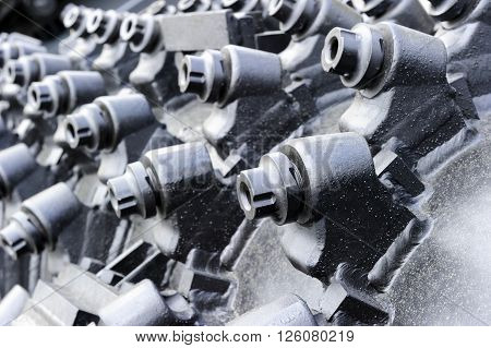 Mining industry, borer of tunnel drilling machine for coal mines in colliery, coal-cutter, equipment for crushing and grinding rock formation, selective focus